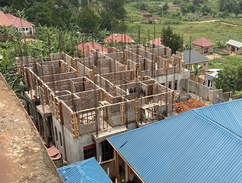 Staff housing under construction in Uganda